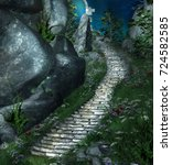 fantasy stairs near a rock in a ...   Shutterstock . vector #724582585