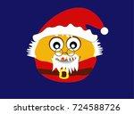 cute round cartoon christmas... | Shutterstock .eps vector #724588726
