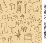 furniture hand drawn seamless... | Shutterstock .eps vector #724589002