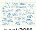 transport vector sketch in... | Shutterstock .eps vector #724589032