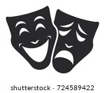 Theater Mask Symbols Vector Se...