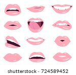 woman lips facial expression...   Shutterstock .eps vector #724589452