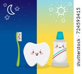 cute tooth  toothbrush ... | Shutterstock .eps vector #724593415