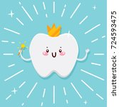 cute tooth  flying fairy with... | Shutterstock .eps vector #724593475