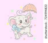 illustration with cute elephant ... | Shutterstock .eps vector #724594822