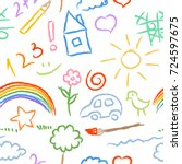 children doodle sketch seamless ... | Shutterstock .eps vector #724597675