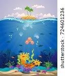 beautiful coral reefs  anemones ... | Shutterstock .eps vector #724601236
