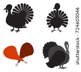 set of turkey icons on a white... | Shutterstock .eps vector #724605046