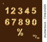 gold glittering metal alphabet  ... | Shutterstock .eps vector #724614205