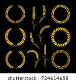 golden wreaths and ears wheat.... | Shutterstock .eps vector #724614658