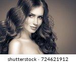 brunette hair woman beauty... | Shutterstock . vector #724621912