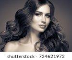 brunette hair woman beauty... | Shutterstock . vector #724621972