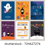 kids halloween cards. vector... | Shutterstock .eps vector #724627276