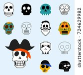 different style skulls faces... | Shutterstock .eps vector #724629982