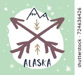 Vector hand drawn Alaska label. Poster, postcard, print, sticker and other.