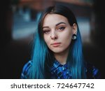 street punk or hipster girl... | Shutterstock . vector #724647742