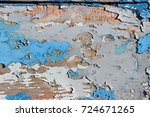 peeling cracked old blue and... | Shutterstock . vector #724671265