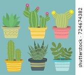beautiful cactus plants | Shutterstock .eps vector #724674382