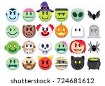 vector set of halloween emojis... | Shutterstock .eps vector #724681612