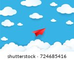 paper cut of red plane on blue... | Shutterstock .eps vector #724685416