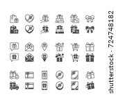 gift icons  included normal and ... | Shutterstock .eps vector #724748182