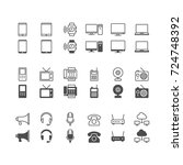 communication device icons ... | Shutterstock .eps vector #724748392