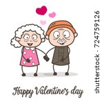 cartoon old age love greeting... | Shutterstock .eps vector #724759126