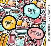 colorful seamless food pattern .... | Shutterstock .eps vector #724763446