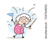 cartoon joyful winner granny... | Shutterstock .eps vector #724764052
