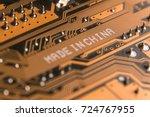 macro image of a motherboard...   Shutterstock . vector #724767955