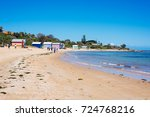 brighton beach and colorful...   Shutterstock . vector #724768216