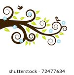 spring tree with birds. vector...