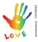 Bright Colorful Handprint With...