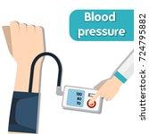 doctor measuring patient blood...   Shutterstock .eps vector #724795882