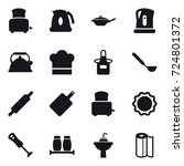 16 vector icon set   toaster ... | Shutterstock .eps vector #724801372