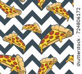 pizza vector seamless pattern ... | Shutterstock .eps vector #724806172