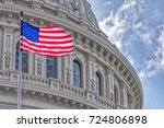 washington dc capitol dome... | Shutterstock . vector #724806898