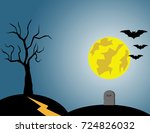 halloween dark castle and a... | Shutterstock .eps vector #724826032