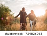 mother and daughter... | Shutterstock . vector #724826065