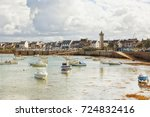 village  marina and lighthouse... | Shutterstock . vector #724832416