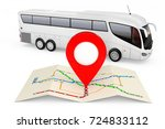 bus stations map with red point ... | Shutterstock . vector #724833112