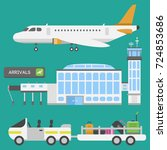 plane airport transport symbols ...   Shutterstock .eps vector #724853686