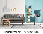 modern living room and sofa... | Shutterstock . vector #724854886