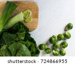 leeks and brussels sprouts ... | Shutterstock . vector #724866955