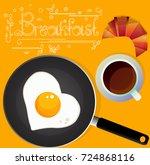 fried egg frying pan  croissant ... | Shutterstock .eps vector #724868116