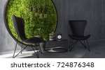 two chairs with coffee table... | Shutterstock . vector #724876348