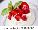 meringue dessert with fresh... | Shutterstock . vector #724880086