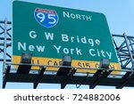 directional highway road sign... | Shutterstock . vector #724882006