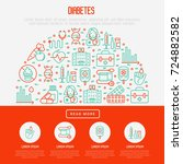 diabetes concept with thin line ... | Shutterstock .eps vector #724882582