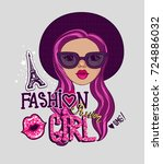 fancy girlish t shirt design.... | Shutterstock .eps vector #724886032